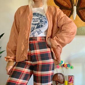 Vintage 70s sienna quilted  bomber jacket unisex